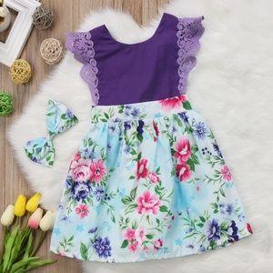 kids purple and flower romper style dress
